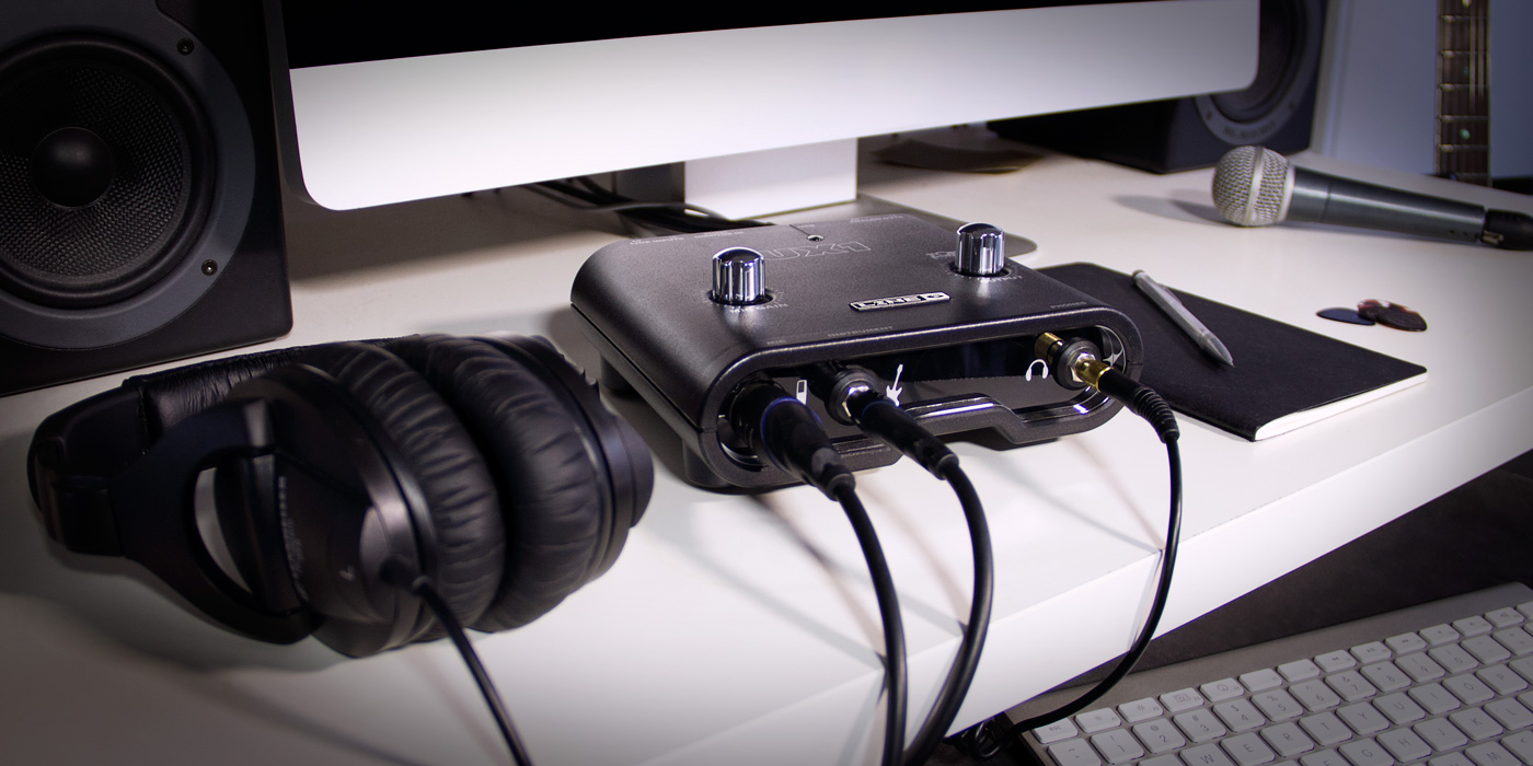 Line 6 POD Studio UX1 recording interface being used by a guitarist singer songwriter image