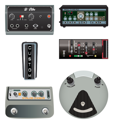 Line 6 Firehawk Amp and Effects vector icon set of effect models