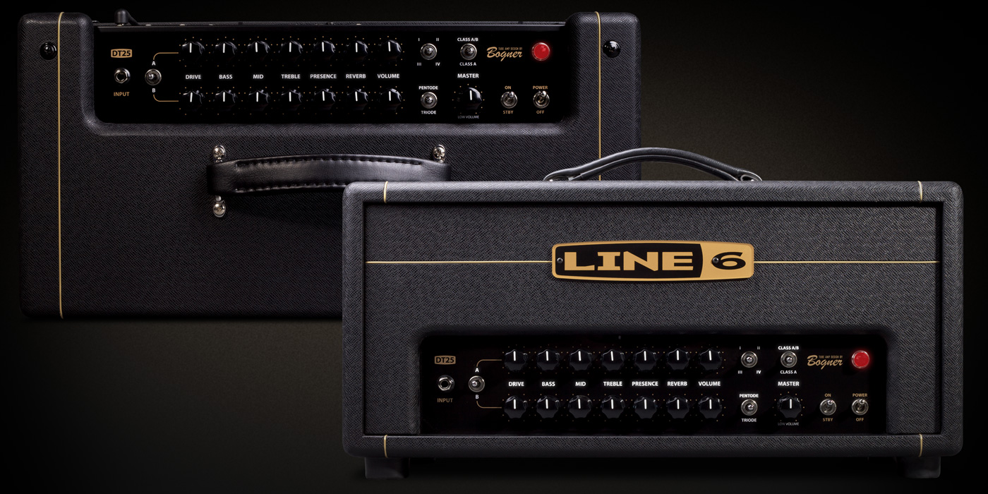 Line 6 DT 25 tube amp head product photo with four voicings