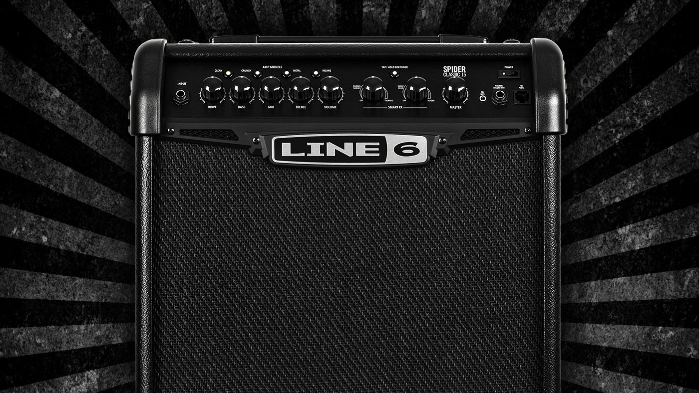 Line 6 Spider Classic 15 watt guitar amp with amp and effects modeling for practicing and jamming