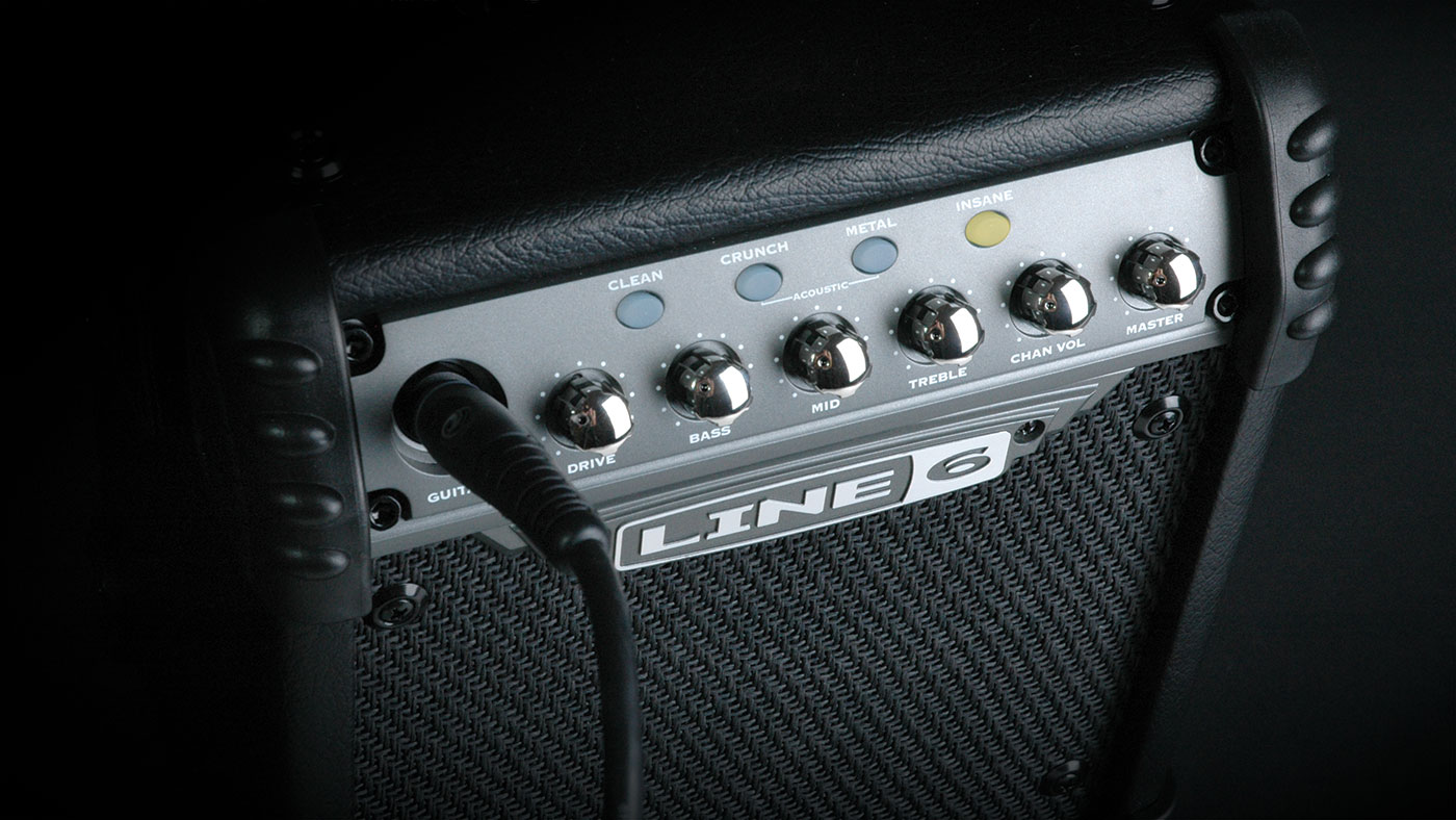 Line 6 Micro Spider guitar amp with amp and effects modeling for practicing and jamming