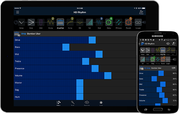 Firehawk Remote app for iOS and Android used to control Firehawk 1500 guitar amp